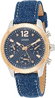 Guess Women's watch Multi-function Display Quartz Movement Leather W1057L1, Ladies Blue