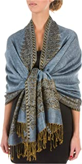 Sakkas Border Pattern Layered Reversible Woven Pashmina Shawl Scarf Wrap Stole