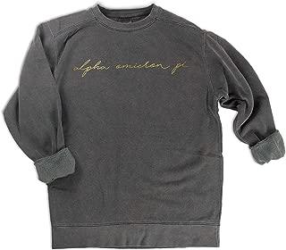 Alpha Omicron Pi Gold Script Comfort Colors Sweatshirt