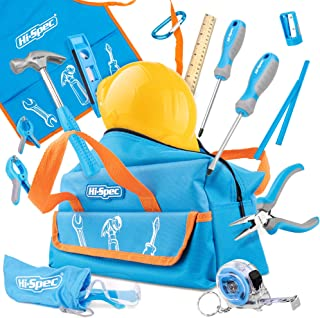 Hi-Spec Bolsa de Herramientas de Bricolaje Reales para Niños, Pequeñas Herramientas Infantiles de Bricolaje para Pequeños Carpinteros