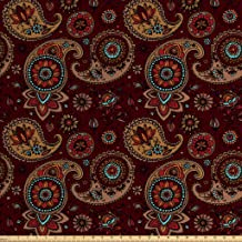 Ambesonne Paisley Fabric by The Yard, Middle Pattern Tribual Artwork Bohemian, Decorative..