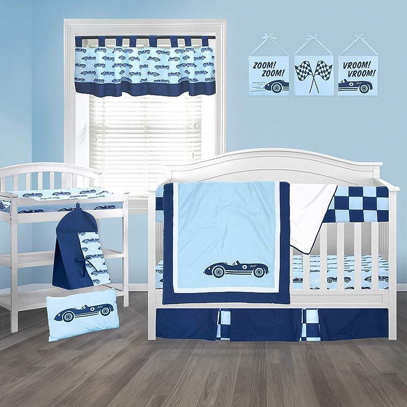 Pam Grace Creations Race Car Crib Bedding Set Blue Dark Blue Baby Blue Standard Crib