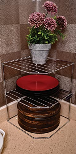 Levon Sturdy Stainless Steel Corner Shelf Rack For Plates Bowls Cups In Kitchen Size 255 X 255 X 320 Mm