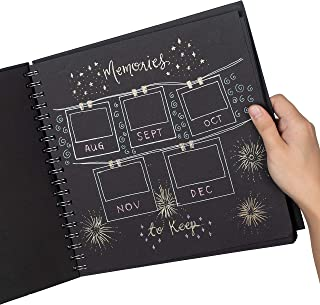 Black Folio Scrapbook Album (10x10 inches) - 80 Blank Pages, Thick 180 GSM Paper | Large Photo Album for Your Polaroid | Cute DIY Guest Book for Your Wedding