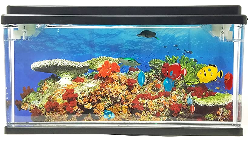 Playlearn USA Jelly Fish/Sea Turtle Aquarium with LED Lights 3D Backing - Stunning! Fantastic Gift (Fish & Sea Turtle)