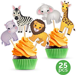 Safari Cupcake Toppers - Jungle Zoo Animals Party Decorations Supplies - 25 PCS