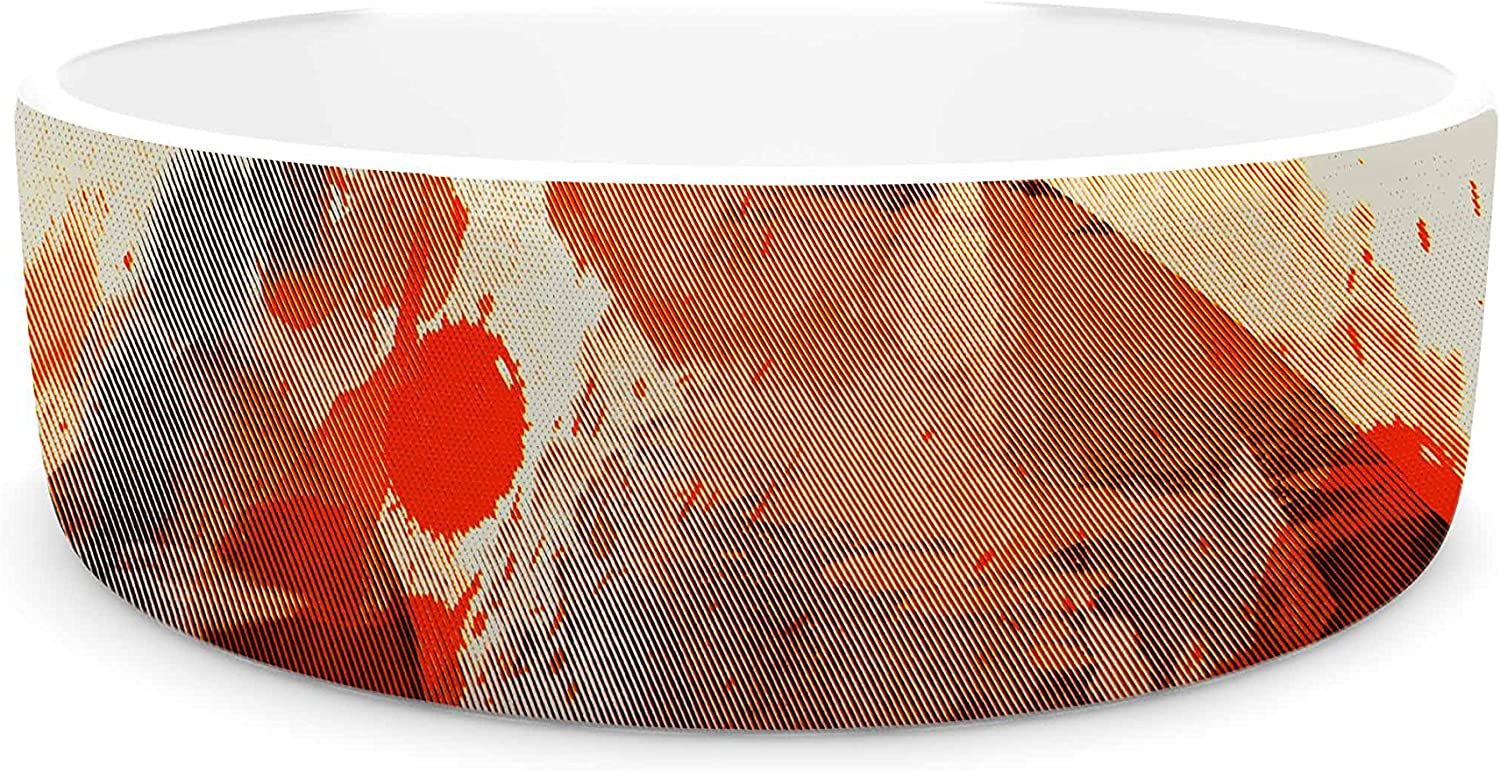 KESS InHouse Frederic LevyHadida Moon Painted with Tea Beige orange Digital Pet Bowl, 7
