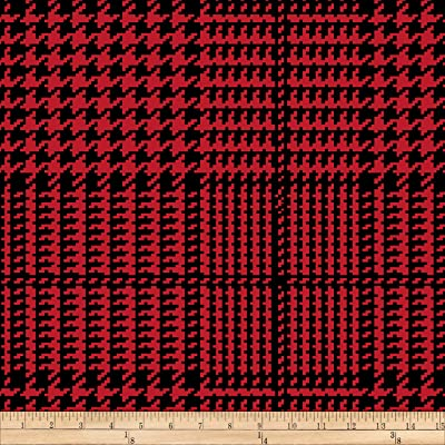 89c56104141 Baum Textiles Winter Fleece Houndstooth Plaid Fabric, Red, Fabric By The  Yard