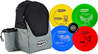 Innova Discs Golf Set with 4 Discs and Discover Disc Golf Backpack – DX Distance Driver, Fairway Driver, Mid-Range, Putter and Mini Marker Disc