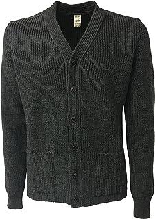 GRP Cardigan Uomo Coste Inglesi con Tasche Grigio 100% Lana Made in Italy
