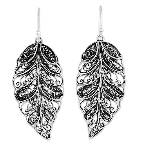 bc2a6ebfc NOVICA .925 Sterling Silver Dangle Earrings 'Feathered Leaves'
