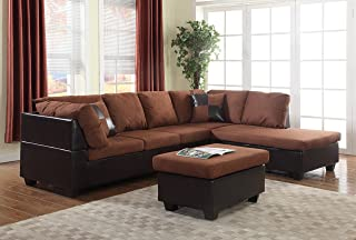 GTU Furniture Microfiber Sectional Couch Sofa Living Room Set, 3 Color Available (with Ottoman, Chocolate)