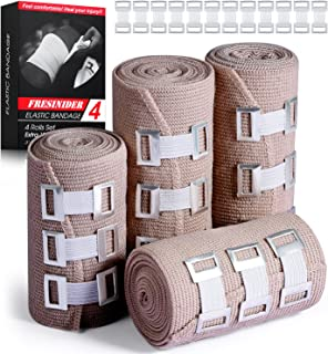 """FRESINIDER Elastic Bandage Wrap 4 Pack(2 X 3"""" + 2 X 4"""" Wide Rolls) + 24 Clips 