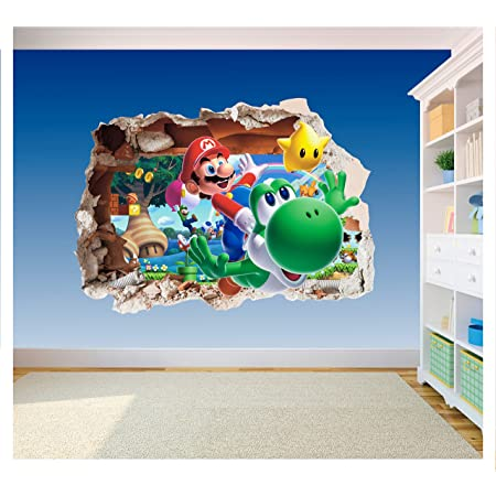 Super Mario Brothers Hole in Wall Autocollant en vinyle imprimé 2-3D pour chambre d'enfant (Super Size 1200 x 855 mm)
