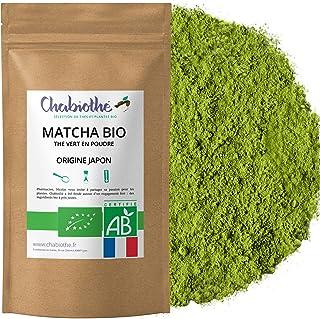 Chabiothé Matcha Dégustation Bio 100g - Origine Japon et sachet biodégradable - conditionné en France - thé vert Matcha en...