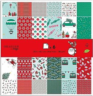 TOGA Papier scrapbooking Noël, Rouge et Vert, 30.5 x 30.5 cm, 1 Set de 6 Pièces