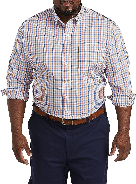 Oak Hill by DXL Big and Tall Small Plaid Sport Shirt, Blue Orange