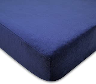 American Baby Company Heavenly Soft Chenille Fitted Crib Sheet for Standard Crib and Toddler Mattresses, Navy, for Boys, Pack of 1