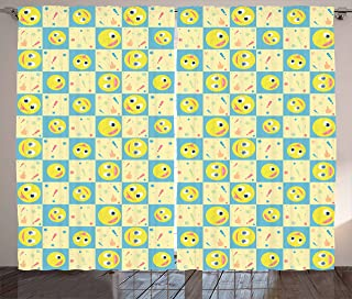 Lunarable Cartoon Curtains, Smiley Faces with Exclamation Point Dots Stars and Thumbs up on Checkered Backdrop, Living Room Bedroom Window Drapes 2 Panel Set, 108