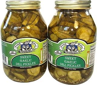 Amish Wedding Foods Sweet Garlic Dill Pickles 2-32 Oz Quarts All Natural