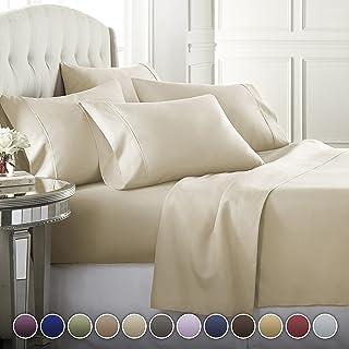 Danjor Linens 6 Piece Hotel Luxury Soft 1800 Series Premium Bed Sheets Set, Deep Pockets, Hypoallergenic, Wrinkle & Fade Resistant Bedding Set(King, Cream)