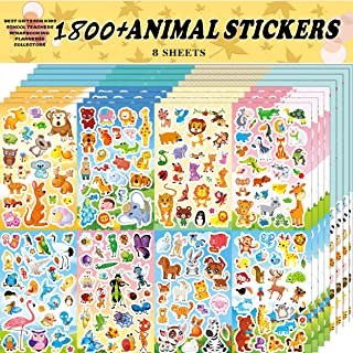 Animal Stickers Assortment Set, 8 Sheets (1800+ Count), 2 Different tstyes 16 Themes Collection for Kids ,Children, Teache...
