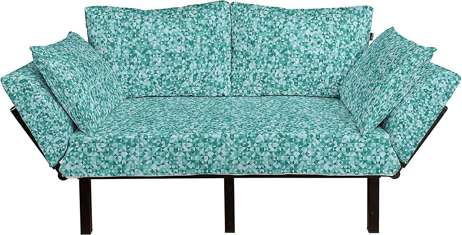 Ambesonne Teal Futon Lowest price challenge Couch Triangle with Polygon Shapes Mosaic Cheap bargain