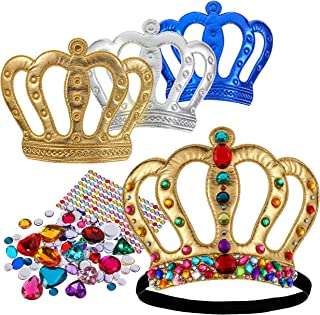 Richness Royal King Crown for Kids DIY Party King Hat Make Your Own King Crowns with Jewel Stickers Prom King Hat Party Supplies Pack of 6