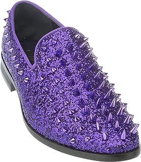 sparko16 Mens Slip-On Fashion-Loafer Sparkling-Glitter Dress-Shoes