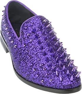 sparko16 Mens Slip-On Fashion-Loafer Sparkling-Glitter Dress-Shoes