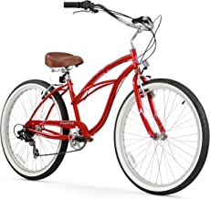 "Firmstrong Urban Lady 7-Speed 26"" Beach Cruiser Bicycle, Red w/ Brown Seat"