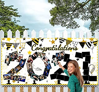 Geefuun Graduation Banner Decorations 2021 - Large Congrats Grad Garland Photo Backdrop + 1 White Rope + 40 Stickers Party...
