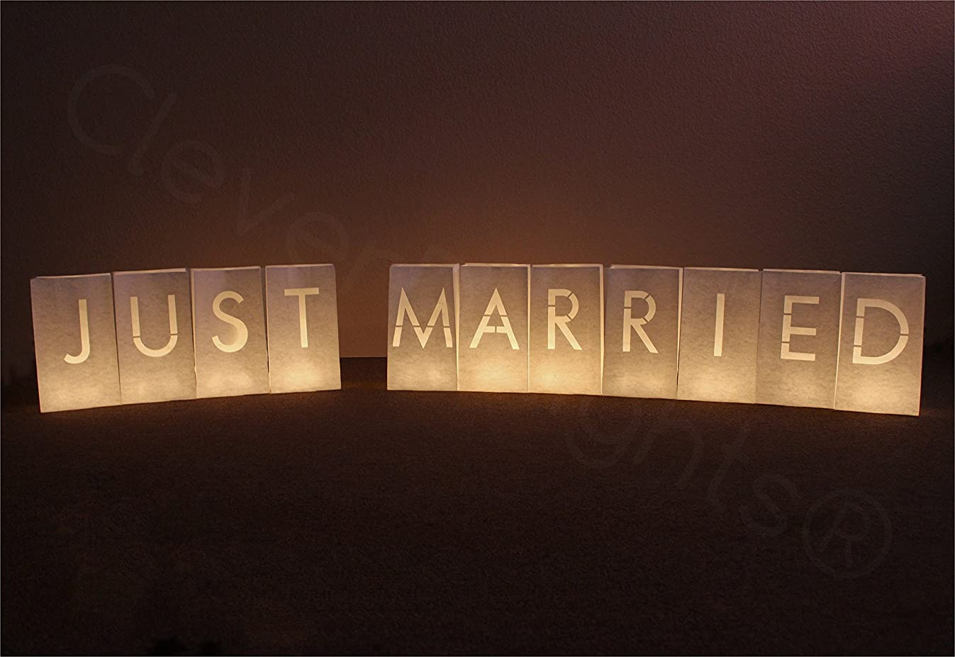 CleverDelights White Luminary Bags - Just Married - 22 Bags (2 Full Sets) - Flame Resistant Candle Bag