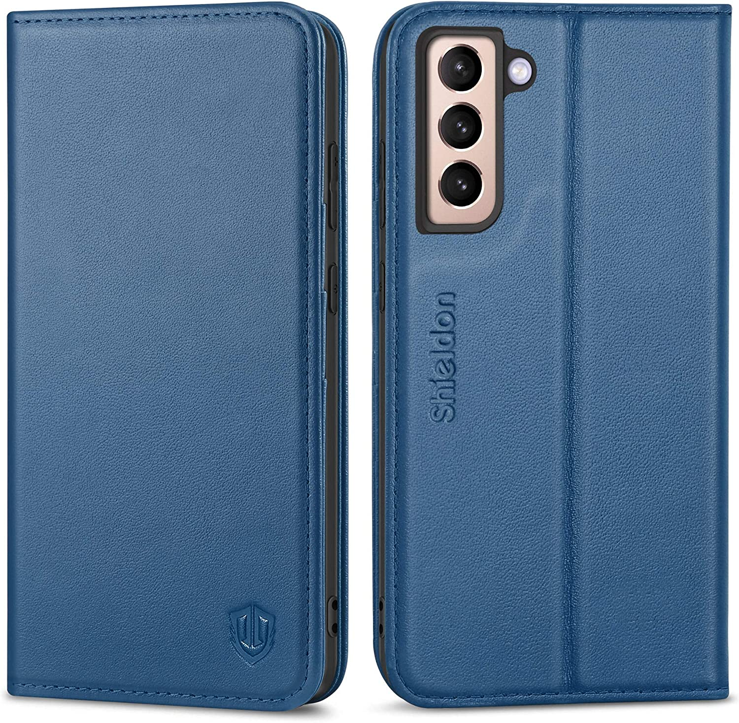 SHIELDON Galaxy S21 5G Case, Genuine Leather Galaxy S21 Wallet Case with Credit Card Holder, RFID Protective Magnetic TPU Shockproof Cover Compatible with Galaxy S21 5G (2021) - Royal Blue