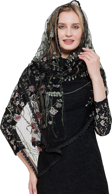Wildflowers Women Mantilla Church Veils Embroidery Cathloic Shawl V55