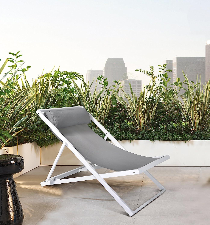 Armen Living Wave Patio Deck Outdoor Lounge Chair