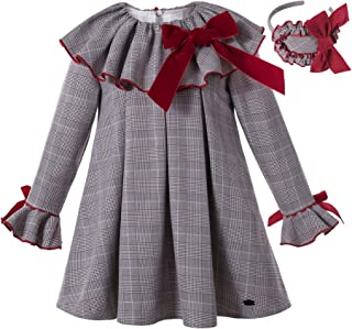 Sponsored Ad - Pettigirl Autumn Winter Toddler England Gray Gird Trendy Long Sleeve Casual Girl Dress Outfit with Headpiece