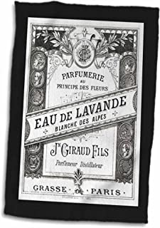 3D Rose Image O Vintage F Paris Perfume Label in Black and White Hand Towel, 15