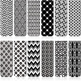 24 Pièces Signets Magnétiques Marque-Pages Magnétique Assortis Marques de Livres pour Élève Lecture (Noir et Blanc)