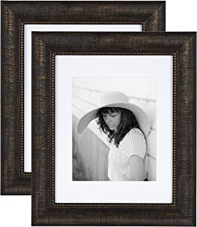 """Kate and Laurel Aldridge Traditional Large Wall Picture Frames, 11"""" x 14"""" matted to 8"""" x 10"""", Bronze, Set of 2, Sophisticated Frames with Beaded Detailing"""