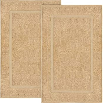 "Shower-Tub Bath Mats, 2 Pack-Beige, 900 GSM, 100% Ringspun Cotton, Extremely Soft, Extra Absorbent, Luxury Style, Professional Grade, Machine Washable (Size 20""x30"") – by Pacific Linens (Beige)"