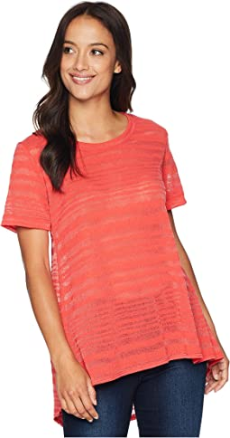 Short Sleeve Sheer Stripe Tunic with Back Pleat