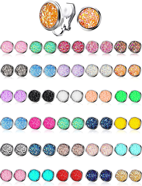 32 Pairs Faux Druzy Clip on Stud Earrings Bohemian Round Stud Ear Clip Stainless Steel Earrings Jewelry for Women Girls (Clip-on Style)