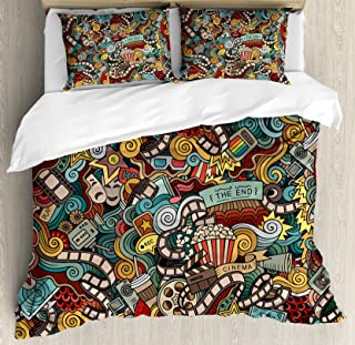 Ambesonne Doodle Duvet Cover Set, Cinema Items Combined in an Abstract Style Popcorn Movie Reel The End Theatre Masks, Decorative 3 Piece Bedding Set with 2 Pillow Shams, King Size, Grey Black