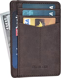 Minimalist Wallet for Men and Women - Genuine Leather RFID Secured Card Case