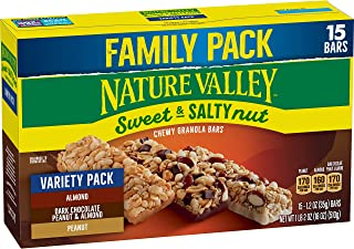 Nature Valley Sweet and Salty Nut Variety Pack 15ct: Peanut, Almond, and Dark Chocolate, Peanut and Almond Granola Bars