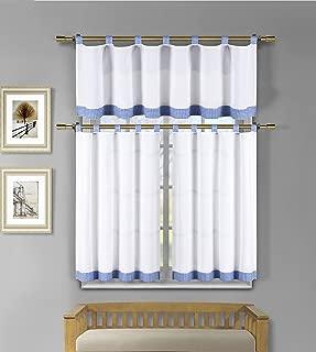 3 Piece White Kitchen Window Curtain Set: Check Design, 1 Valance, 2 Tiers (Blue)