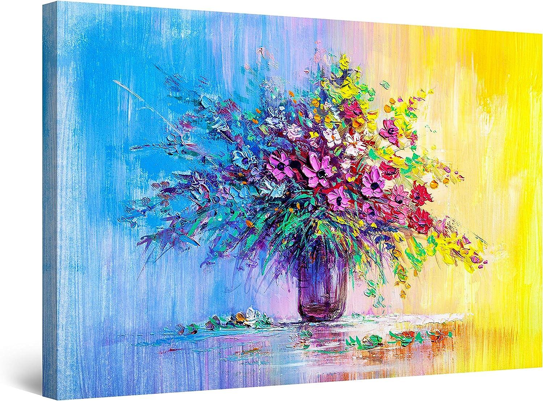Startonight Canvas Wall Art 新作アイテム毎日更新 Abstract Yellow - Blue Fl Half 正規品送料無料