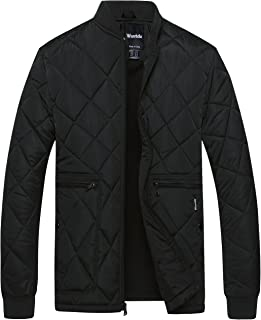 Men's Quilted Bomber Jacket Padded Outdoor Diamond Puffer Coat