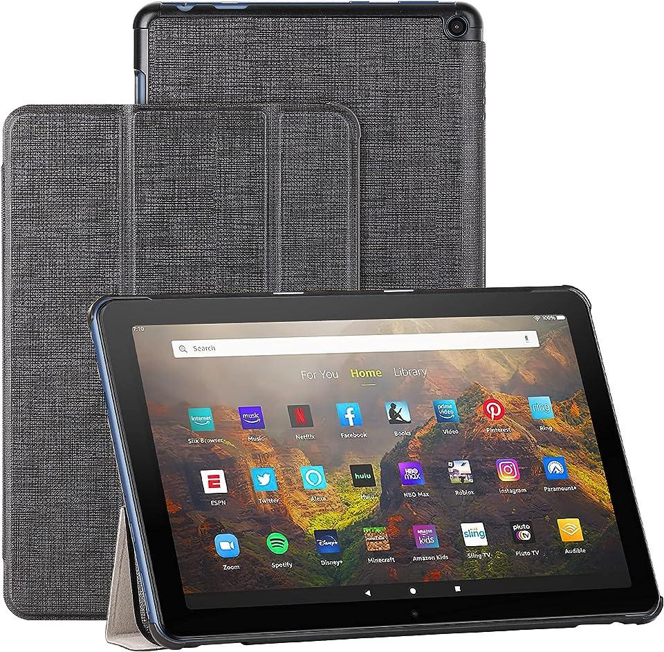 Foluu Hülle für Fire HD 10/Fire HD 10 Plus 2021, dünn leicht mit dreifach faltbarem Ständer Smart PU Schutzhülle für Amazon Fire HD 10 Tablet 11. Generation 2021 Release (schwarz)